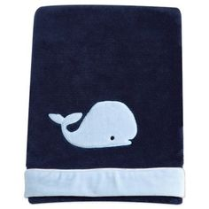 Nautica Kids® Mix & Match Velboa Whale Blanket in Navy - buybuyBaby.com