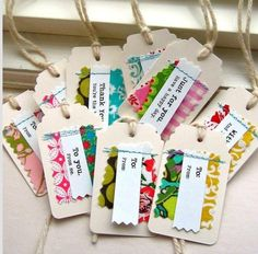 Gift Tags Tags Paper and Fabric Gift Tags Sewn Fabric Tags. Fabric Gifts, Fabric Tags, Fabric Scraps, Fabric Paper, Card Tags, Gift Tags, Christmas Tag, Christmas Crafts, Christmas Fabric