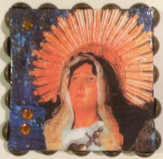 Mini canvas collaged with image of the Virgin Mary by DianaDDarden