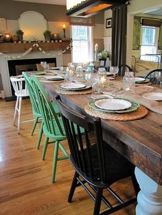 Mismatched dining room chairs. I'm a big fan and it's easier to thrift them! Maybe? (and we can include the bench too!)