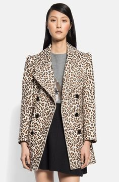 Carven Double Breasted Leopard Print Coat available at #Nordstrom $1550; CAbi estate jacket $168