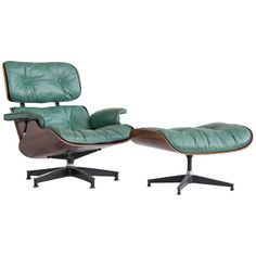 Early Special Order Green Leather Rosewood Eames Lounge Chair and Ottoman 1