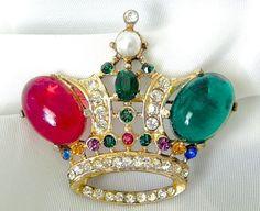 Vintage Estate LG Gold Rhinestone Crown Pin Brooch WOW