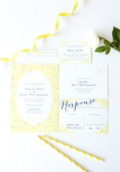 CONFETTI WEDDING INVITATIONS // #pastel #yellow #blue #cheerful #paper #invitation #wedding #design #stationery
