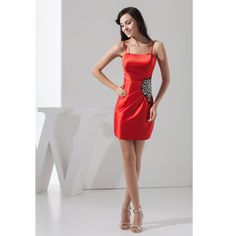Custom Made Vestido De Festa Curto Red Satin Beading Spaghetti Straps A-Line Cocktail Dress Short Prom Dress