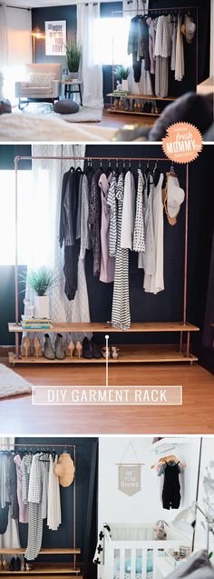 Read the full simple and easy tutorial to make your own wardrobe rack when you need some extra closet space or a way to display your items. simple home diy Rolling DIY Garment Rack for Your Wardrobe