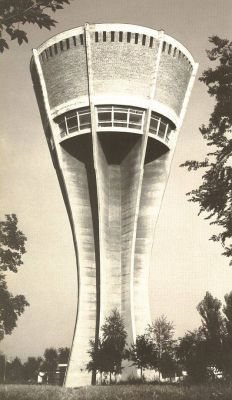 #Vukovar water t#ower before war / #Croatia (  built in 1968., 50 meters high , tank capacity of 2,200 cubic meters, at that time was among the largest buildings of its kind in Europe. )