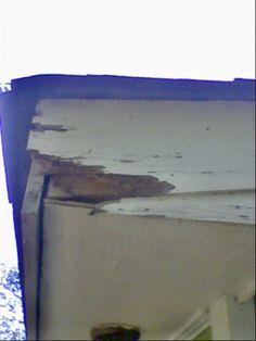 """The obligatory """"before"""" picture.  The corner of the fascia board has rotted away."""