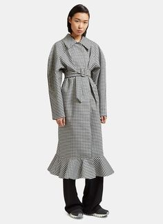 Women's Designer Coats - Clothing | Shop Now at LN-CC - Jellychess Long Gingham Frilled Coat