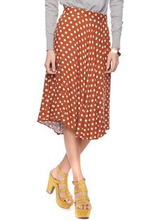 Polka dot skirt, swingy skirt, skirts, work clothes, long skirts, Forever 21, bargain style, vintage style