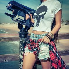 Taking in the sights. Marvel Women, Punisher, Boho Shorts, Crop Tops, Instagram Posts, Style, Fashion, Swag, Moda