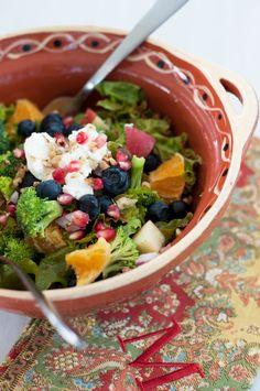 Detox Salad: blueberries, broccoli, walnuts, pomegranate seeds, goat cheese.