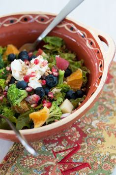 Detox Salad: blueberries, broccoli, walnuts, pomegranate seeds, goat cheese.