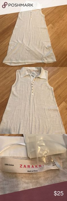 NWT ZARA knit cotton dress ZARA knit cotton dress. Lightweight. Brand new with tags. 100% cotton. Light off white Zara Dresses