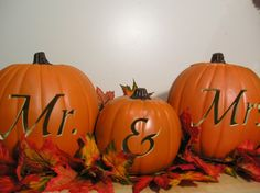 Hey, I found this really awesome Etsy listing at http://www.etsy.com/listing/155967897/mr-and-mrs-fall-wedding-carved-pumpkin