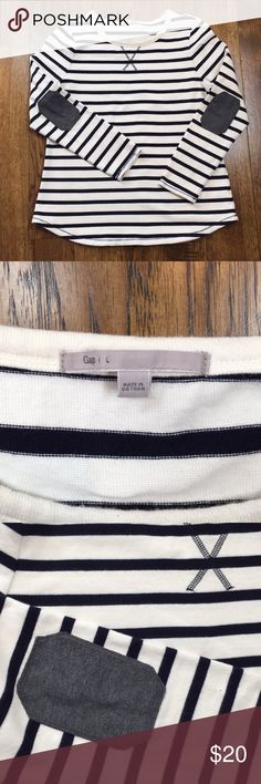 """GAP Nautical Rugby Pullover Elbow Patches Excellent used condition!  No flaws.  Soft heavyweight cotton, almost like a sweatshirt.  20.5"""" armpit to armpit, 26.5"""" shoulder to hem. GAP Tops"""