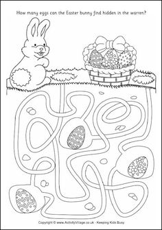Easter Mazes for Kids Mazes For Kids, Easter Activities For Kids, Easter Games, Easter Crafts For Kids, Easter Puzzles, Easter Worksheets, Easter Printables, Easter Coloring Pages, Coloring Books