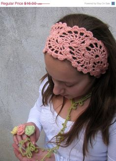 ON SALE 25 % SALE Crochet HeadBand - Hand Crochet Hairband - Bandana -Hair Wrap -Hair  Accessories - Salmon Color