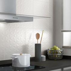 Faïence mur blanc n°0, décor loft facette l.20 x L.50.2 cm | Leroy Merlin