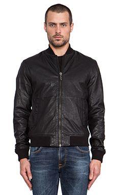 Nudie Jeans Cedric Bomber Leather Jacket in Black | REVOLVE