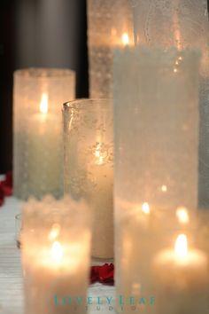 lace covered vase jars