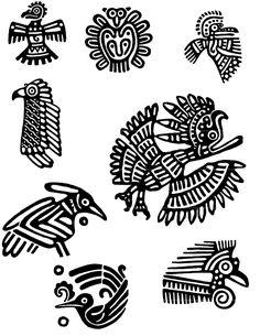 Símbolos Mayas II Aztec Symbols, Mayan Symbols, Doodles Zentangles, Maya Design, Native American Animals, Aztecas Art, Turkey Images, Mesoamerican, Tribal Patterns