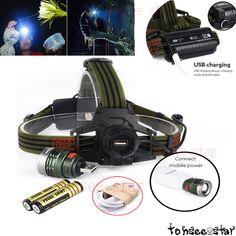 10000LM XML T6 LED Zoom Stirnlampe Kopflamp Headlamp Lampe+USB Line+18650 AkkusT