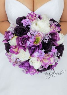 Regency Purple Davids Bridal Wedding Flowers brides bouquet mixed purples, plum and lilacs silk flowers with berries and roses wedding bouquet ideas in purple Purple Flower Bouquet, Purple Wedding Bouquets, Bride Bouquets, Flower Bouquet Wedding, Rose Wedding, Floral Wedding, Wedding Stuff, Wedding Ideas, Purple Roses
