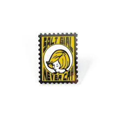"Salt Girl Never Cry Stamp Pin  Cloisonne Lapel Pin (Dark Nickel) Size- 1.125""H x 0.9""W , 2mm thick Includes butterfly nickel backing for safety."