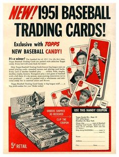 1951 Topps Baseball Cards Retail Promo Sheet ~ Super-rare and featuring Topps Red Backs and Connie Mack All-Star cards. How many cases would you like? Baseball Card Packs, Baseball Tips, Baseball Mom, Baseball Players, Baseball Cards, Baseball Stuff, Baseball Videos, Baseball Display, Angels Baseball