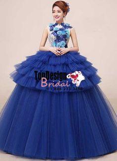 2017 New Flower Sweet 15 Ball Gown Navy Blue High-Neck Satin Tulle Prom Dress Gown Vestidos De 15 Anos