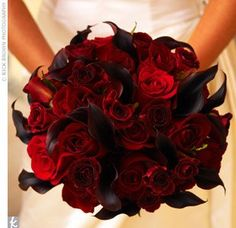 Red roses, red peonies, eggplant calla lillies, wedding flower bouquet, bridal bouquet, wedding flowers, add pic source on comment and we will update it. www.myfloweraffair.com can create this beautiful wedding flower look.