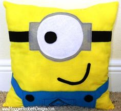 A fun cute Minion character pillow! So many variations could be applied such as using purple fabric to make the 'mean minions', add hair wit...