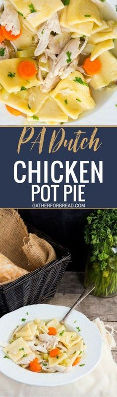 Pennsylvania Dutch Chicken Pot Pie - Soup like recipe is the BEST comfort food. Filled with homemade dough squares rolled from scratch and fresh chicken. Dinner delight!!!