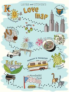 "A new custom ""love map"" I created recently for Chicago couple Steven and Laura."