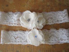 Something blue wedding garter set by BusyBeeFlowers on Etsy, $20.00