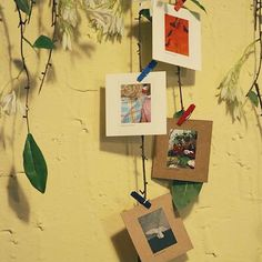 Mini Polaroid Photo Frames & Wooden Pegs 7 by WonderlandRoom Mini Polaroid, Polaroid Photos, Polaroids, Polaroid Ideas, Picture Wall, Picture Frames, Pictures On String, Suspension Hanging, White Photo Frames