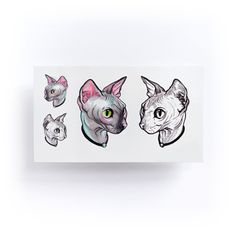 Watercolor Sphynx Cat Temporary Tattoo Sticker