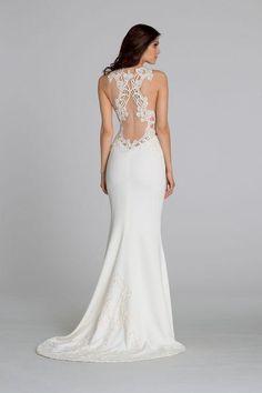 Tara Keely lace sheer-back wedding dress