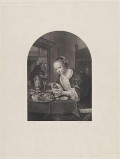 Dirk Jurriaan Sluyter | Het oesteretertje, Dirk Jurriaan Sluyter, 1840 | Een jonge vrouw, gekleed in kort jakje met bontrand, zit aan een tafel waarop een schaal oesters, een glas wijn en een kruik staan. Zij heeft een oester in de linkerhand. Achter haar een bed met gesloten gordijnen. Links op de achtergrond een tweede vertrek waarin een vrouw toekijkt hoe een man oesters opent.