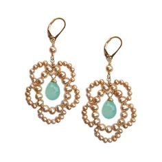 """Rose chalcedony and pearl earrings by Sophia & Chloe (with a little """"something blue"""")"""