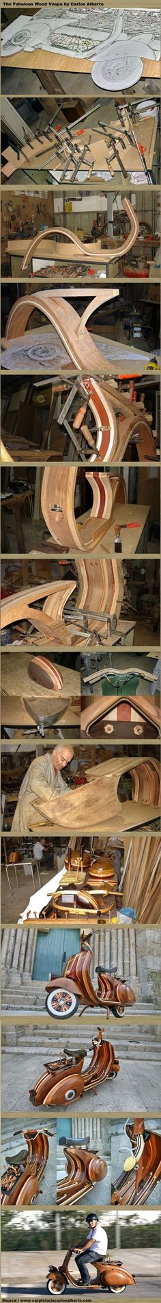 The Fabulous Wood Vespa by Carlos Alberto