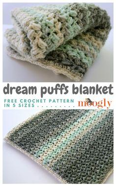 Dream Puffs Blanket - Free Pattern on Moogly Scarfie Yarn Crochet Crafts, Crochet Yarn, Crochet Stitches, Crochet Hooks, Free Crochet, Crochet Projects, Crochet Blankets, Baby Blankets, Crochet Ideas