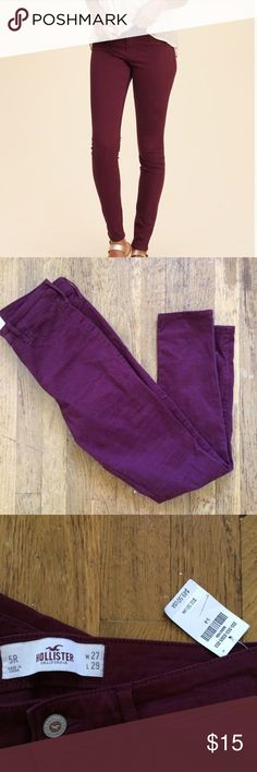 Hollister Maroon fall skinny jeans❤️ Brand new with tags! Great for this time of year🤗 Hollister Pants Skinny