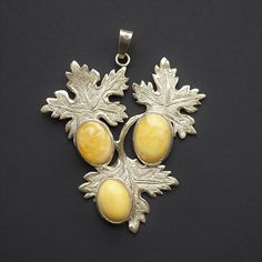 21.5g Sterling Silver, Baltic Amber Pendant