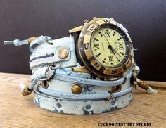 Ocean Blue leather Watch Womens wrap watch Bracelet Watch