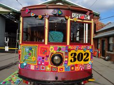Tram 302 in BENDIGO has been yarn bombed for the second winter in a row.