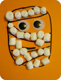 Easy Halloween Mummy Marshmallow Craft. Would be good for our 2's/3's