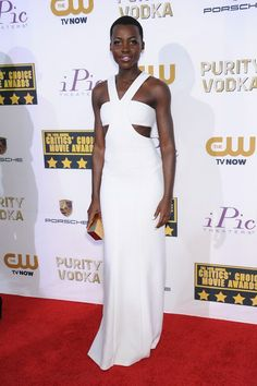Lupita Nyong'o wore a Calvin Klein Collection gown and won the Best Supporting Actress award for 12 Years a Slave.