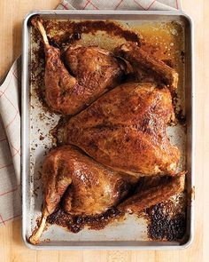 By spatchcocking your Thanksgiving turkey, you'll cut down on cook time, but you won't sacrifice on flavor. This recipe yields a delicious Thanksgiving turkey in less time than you imagined possible. Martha Stewart Thanksgiving, Thanksgiving Turkey, Thanksgiving Recipes, Holiday Recipes, Christmas Desserts, Dinner Recipes, Holiday Meals, Thanksgiving Traditions, Thanksgiving Birthday